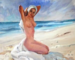 Peter McIntyre's Nude on the Beach from the late 1940s, oil on board.  It is for sale today at...