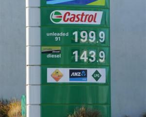 Petrol prices below $2 a litre in Dunedin yesterday. Photo by Craig Baxter.