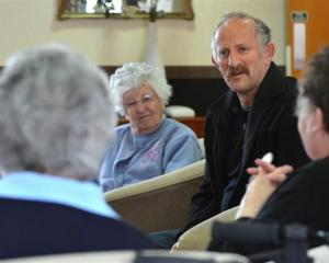 Philanthropist Gareth Morgan  meets Radius Fulton Care Centre  residents (from left) Margaret...
