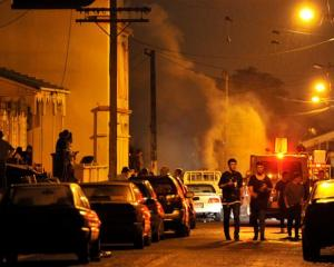 Police and  Fire Service personnel attend a fire at a large party in Hyde St on Saturday night,...