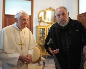Pope Benedict XVI meets former Cuban leader Fidel Castro in Havana. REUTERS/Osservatore Romano