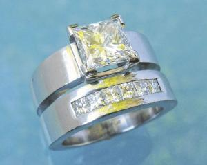 Princess cut diamond set in platinum by Chris Idour.