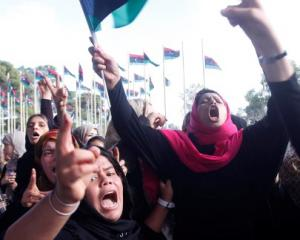 Protesters from Bani Walid demonstrate outside Libya's national congress compound in Tripoli....