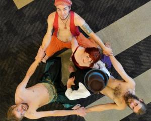 Rachael Lundy is surrounded by her harem (clockwise from top) Tama Braithwaite-Westoby, Josh...