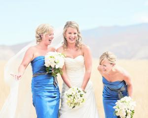 Rebecca Thacker and her bridesmaids. She married Mark Bland in Wanaka in February. ALPINE IMAGE CO