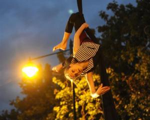 Regina Hegemann hangs around for the start of the Fringe.  Photos by Craig Baxter.