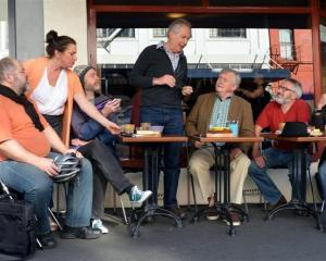 Rehearsing for the Roger Hall play Book Ends are (from left) Phil Grieve, Julie Edwards, Richard...