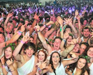 Revellers pack the dance floor at the Orientation Week Toga Party at  Forsyth Barr Stadium last...
