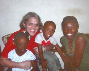 Robyn Couper with some Haitian friends. Photo supplied.