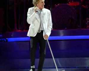 Rod Stewart rocks Forsyth Barr Stadium on Saturday night. Photo by Craig Baxter.
