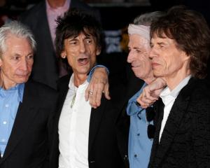Rolling Stones (from left) Charlie Watts, Ronnie Wood, Keith Richards and Mick Jagger arrive for...
