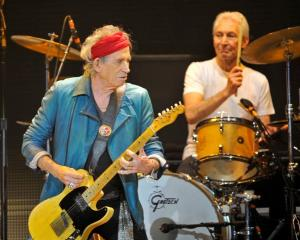 Rolling Stones Keith Richards (L) and Charlie Watts performs during the band's concert at the O2...