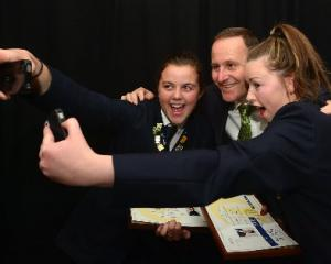 Roxburgh Area School pupil Emma Parker (left) and Lawrence Area School pupil Kelly Tweed...