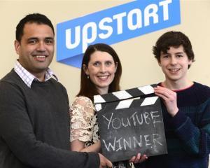 Rueben Skipper (left) and Zoe Hobson, from Upstart Business Incubator, with Make Money on YouTube...