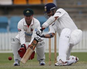 Sachin Tendulkar bats for India during their match against CA Chairman's XI at Manuka oval in...