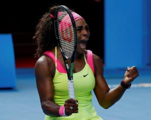 Serena Williams celebrates her win over Madison Keys. REUTERS/Issei Kato