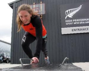 Skeleton racer Katharine Eustace trains on a wheeled sled at the High Performance Sport New...