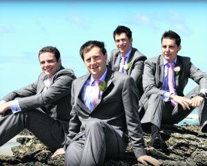 Steven Turnbull (front) and his groomsmen. Steven married Madelene Kinraid in February in Dunedin...