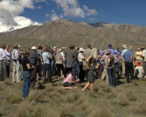 Some of the 140 people who took part in a field trip at the Lake Tekapo Scientific Reserve late...
