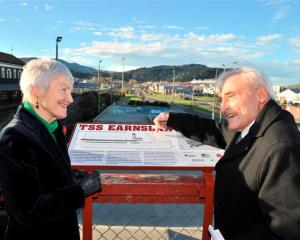 Southern Heritage Trust founding trustee Ann Barsby and marine engineer Maurice Davis unveil a...