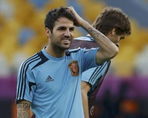Spain player Cesc Fabregas attends a training session at the Olympic stadium in Kiev. REUTERS...
