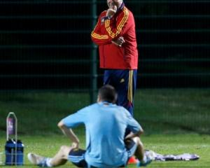 Spain's national soccer coach Vicente del Bosque looks at Andres Iniesta on the pitch during a...