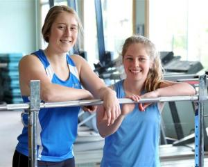 St Hilda's pupils Grace Schrader (left) and Hannah Perkins at weightlifting training in the...