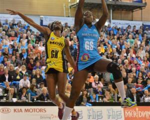 Steel shooter Jhaniele Fowler-Reid out jumps Pulse defender Ama Agbeze at the Edgar Centre on...