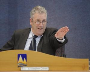 Stephen Cairns chairs his final Otago Regional Council meeting last week. Photo by Peter McIntosh.