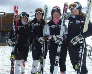 Taking a break from training at Coronet Peak on Friday were members of the Russian women's alpine...