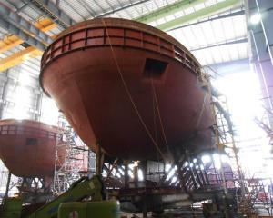 The bow section of Port Otago's new tug, Taiaroa, pictured in the Damen Group shipyard in Da Nang...