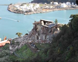 The damaged Lyttelton timeball station after the Christchurch earthquake.