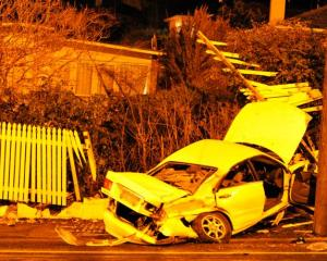 The male driver of this vehicle died at the scene of a crash on Taieri Rd in Dunedin, just west...