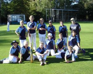 The Queenstown Primary School Boys years 7 and 8 cricket team is (back, from left) Angus Herron ...