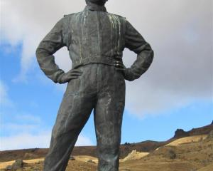 The statue of Possum Bourne about 9km up the road to the  Snow Farm. Photo by Mark Price.