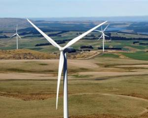 The turbines turn at TrustPower's Mahinerangi wind farm, in the hills about 70km west of Dunedin....
