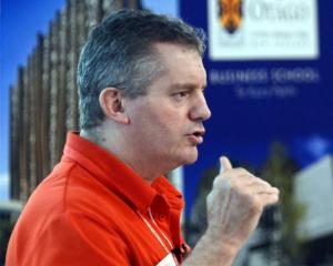 The Warehouse Group chief executive Mark Powell speaks at a University of Otago seminar. Photo by...