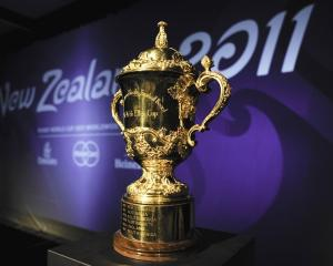 The Wiliam Webb Ellis trophy, seen on display before the 2011 Rugby World Cup. Photo Reuters