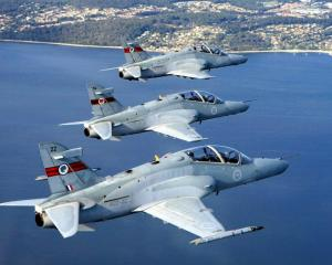 Three RAAF Hawk 127 fighter trainers near Port Stephens, north of Sydney. Photo supplied.