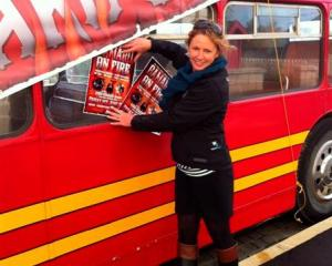 Tourism Waitaki event development officer Jan Kennedy secures a novel way of promoting the...