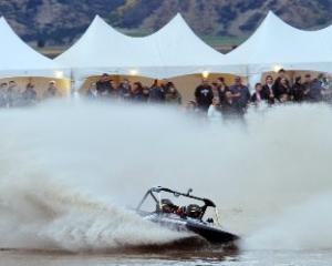 Tristan Hynds and Matthew Fagan rocket their Group A boat around the Oxbow course during the New...