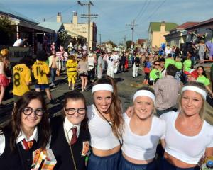 University of Otago students (from left) April Pilley (18), Alanah Harwood (19), Sophie Ehlers ...