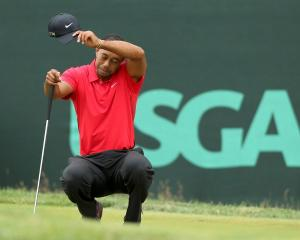 US golfer Tiger Woods wipes his face while on the second green during the final round of the 2013...