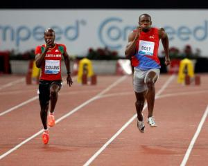 Usain Bolt (2nd R) of Jamaica on his way to winning the men's 100m at the Golden Gala IAAF...