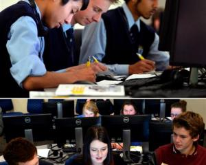 Using modern technology to develop future innovations at a workshop in Dunedin yesterday are (top...