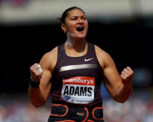 Valerie Adams reacts during the women's shot put at the Diamond League 'Anniversary Games'...