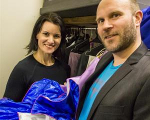 Wakatipu talents Nicole McLean and David Oakley try on  costumes for size during rehearsals for...