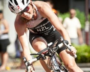 Wanaka triathlete Nicky Samuelscycles during the Contact Tri Series race in Takapuna in February....