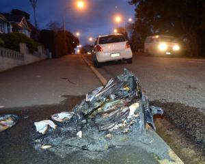 Wheelie-bins burnt in Dunedin yesterday: Eglinton Rd.