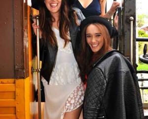 Alighting from the train at Wingatui are (from left) Mellissa Mathieson, of Christchurch, Alyce...